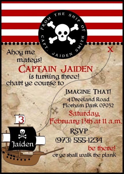 Pirate Theme Party Invitations