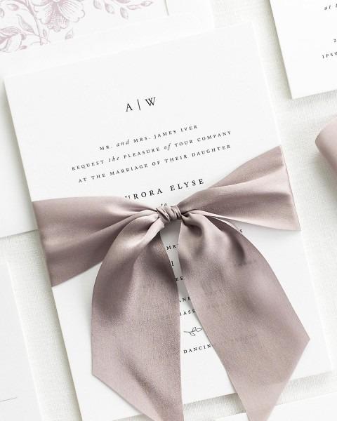 Pre Tied Bows For Wedding Invitations Aurora Ribbon Wedding