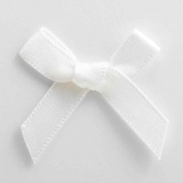 Pre Tied Bows For Wedding Invitations White Satin Ribbon Bows