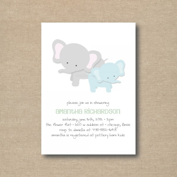 Baby Shower  Elephant Baby Shower Invitations  Couples Baby Shower