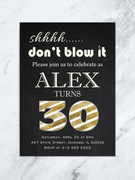 Gold And Black Adult Birthday Invitation, Men Birthday Dinner