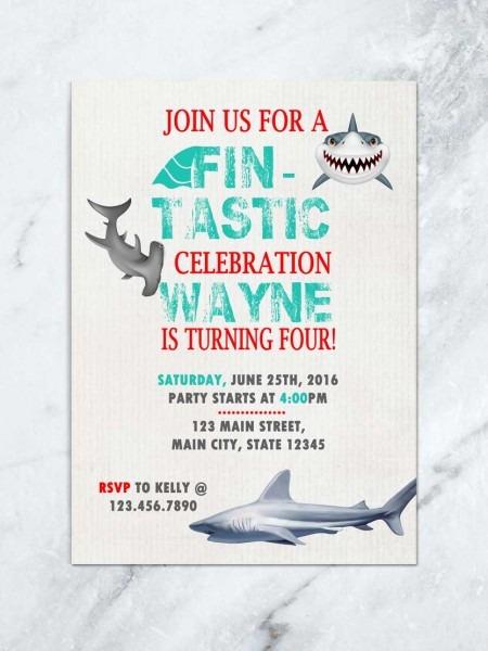 Shark Birthday Invitation, Shark Invite, Fin