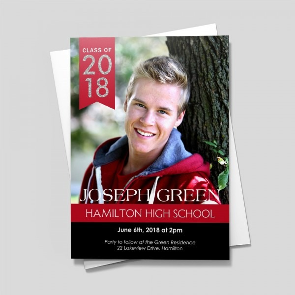 120 Wonderful Red And Black Graduation Invitations Front Back