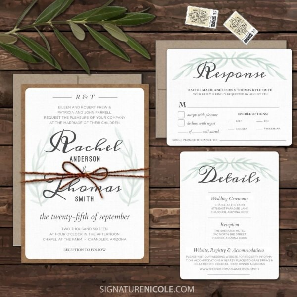 Rustic Boho Wedding Invitation Suite