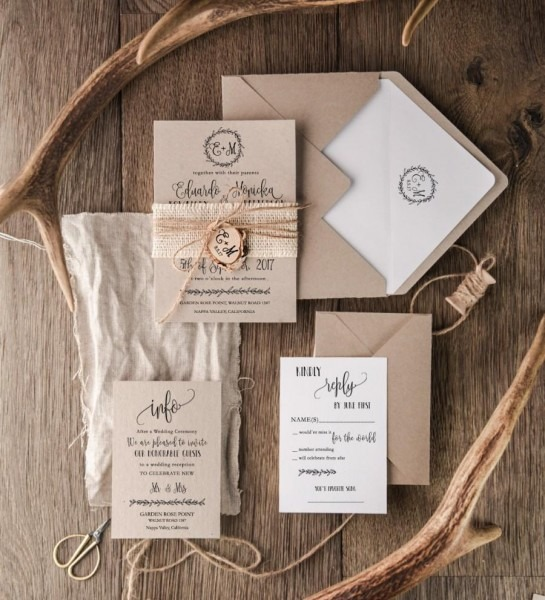 Rustic Wedding Invitation Set (20), Craft Wedding Invitation Suite