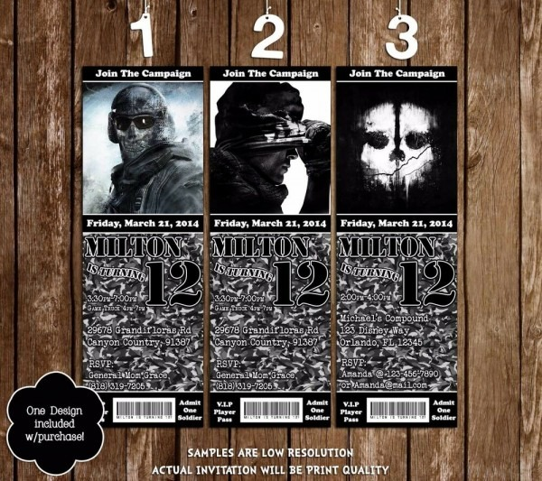 Call Of Duty Ghost Birthday Party Ticket Invitations
