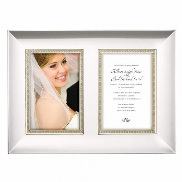 Lenox Jubilee Pearl Double Photo Wedding Invitation Frame Nib