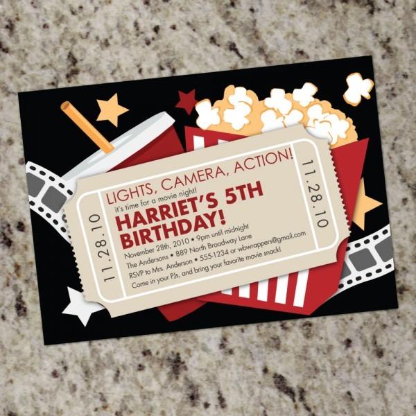 Movie Theater Themed Birthday Party Invitations