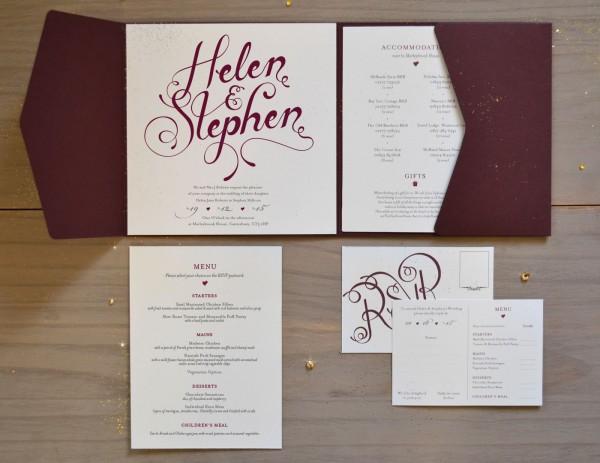 Elegant Burgundy Wedding Invitations