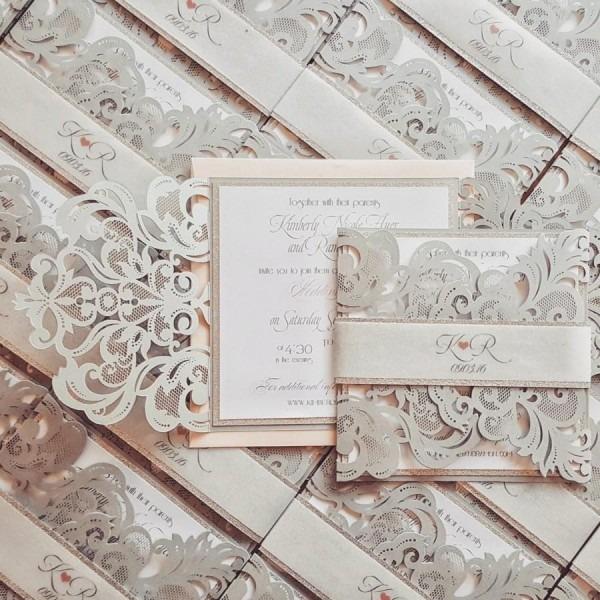Silver Laser Cut Wedding Invitation Bespoke