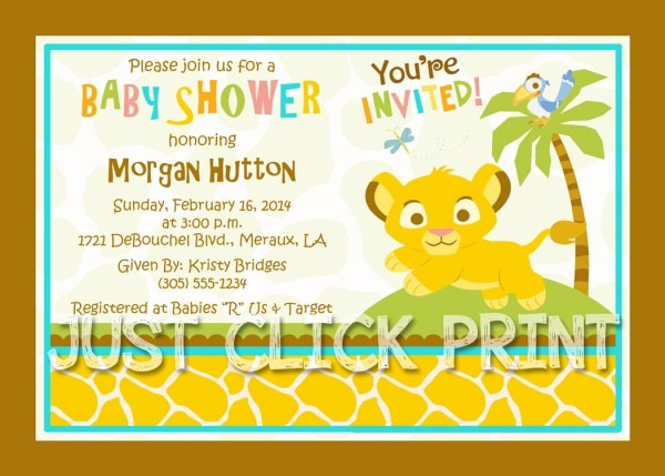 Simba Lion King Baby Shower Invitation Printable · Just Click