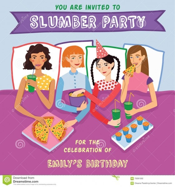 Slumber Party Birthday Invitation With Four Cute Girls Friends