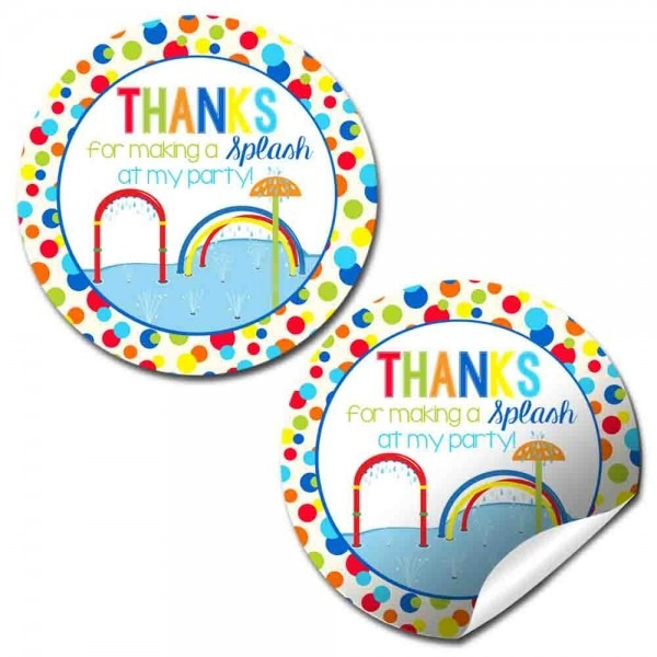 Splash Pad Birthday Party Thank You Sticker Labels For Boys, 20 2