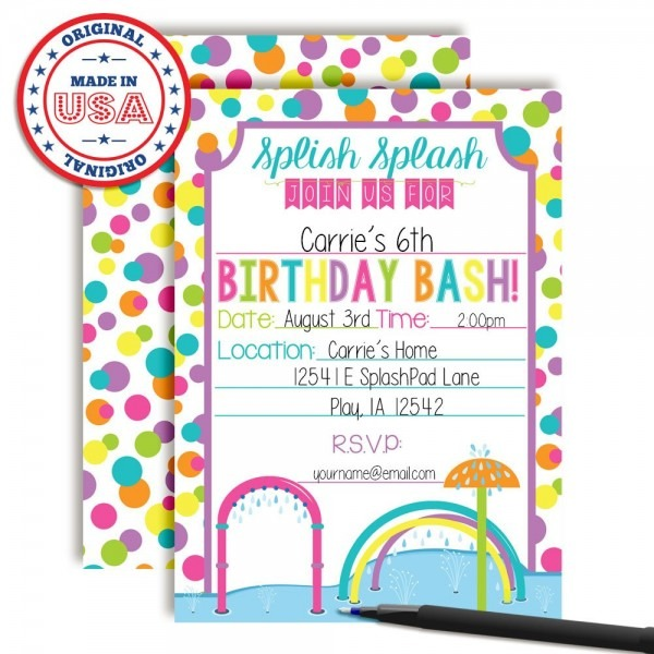 Splash Pad Wet And Wild Fun Birthday Party Invitations For Girls