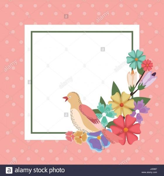 Spring Card Bird Flower Frame Decoration Invitation Template Stock
