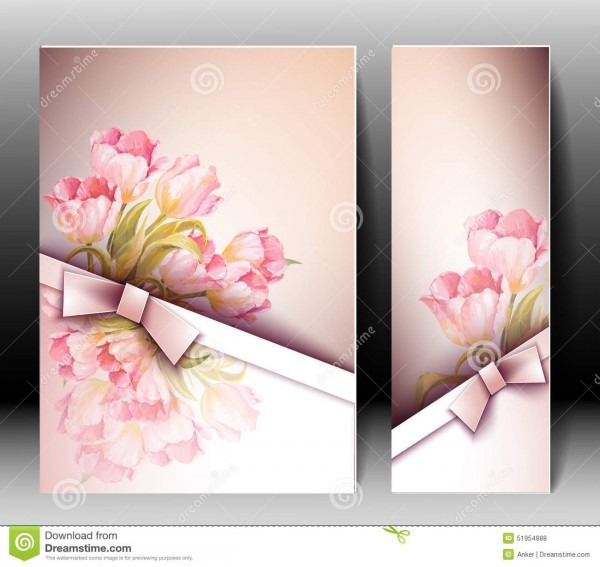 Spring Flowers Invitation Template Card Stock Vector