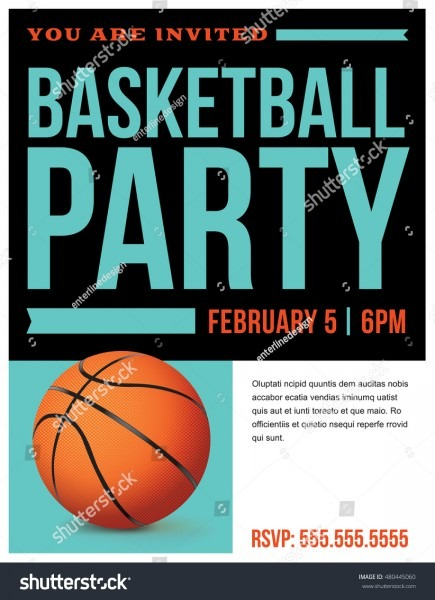 Flyer Basketball Party Invitation Template Vector Stock Vector