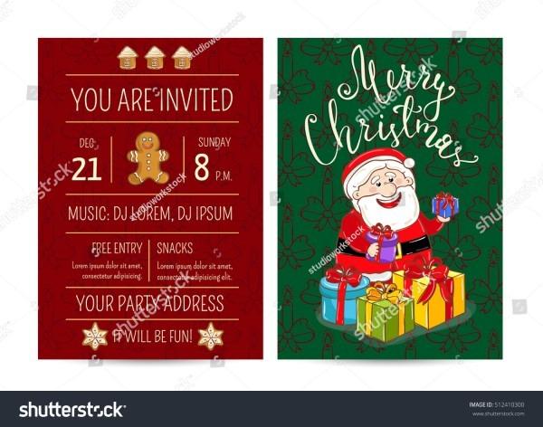 Christmas Party Invitation Cartoon Santa Claus Stock Vector