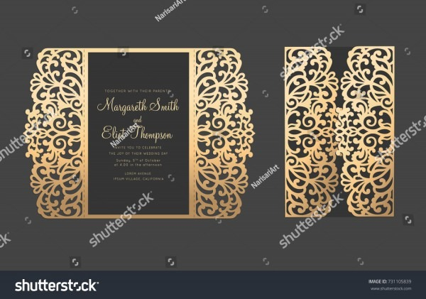 Gate Fold Elegant Laser Cut Card Stock Vector (royalty Free