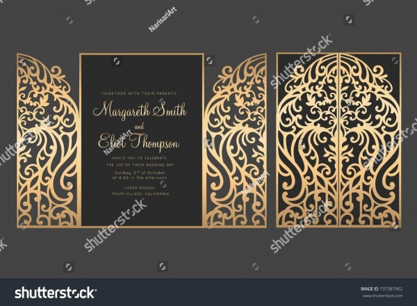 Laser Cut Gate Door Fold Card Stock Vector (royalty Free