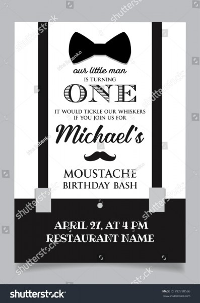 Little Man One Year Birthday Invitation Stock Vector (royalty Free