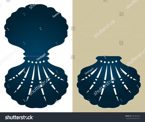 Sea Shellshaped Wedding Invitation Template Suitable Stock Vector