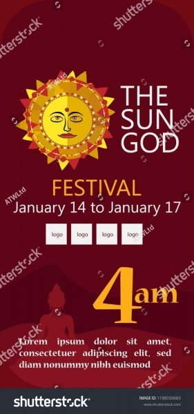 Sun God Invitation Festival On Crimson Stock Vector (royalty Free