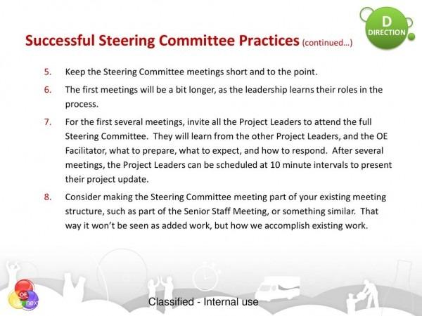 Steering Committees Ensuring Oe Sustainability