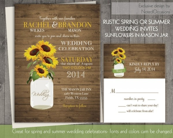 Sunflower Wedding Invitation Set Rustic Sunflower Wedding In