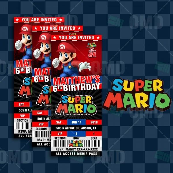 Super Mario Bros Ticket Style Birthday Cartoon Invites – Cartoon