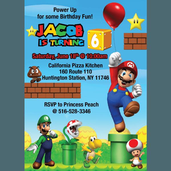 Super Mario Bros  Birthday Invitation – Blackline