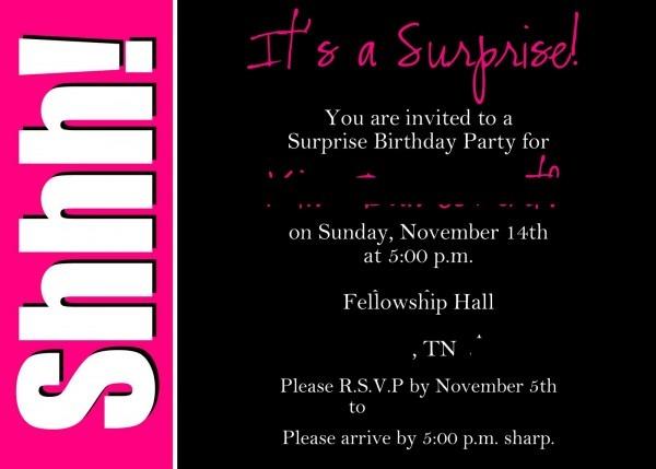 Surprise Invitation Template