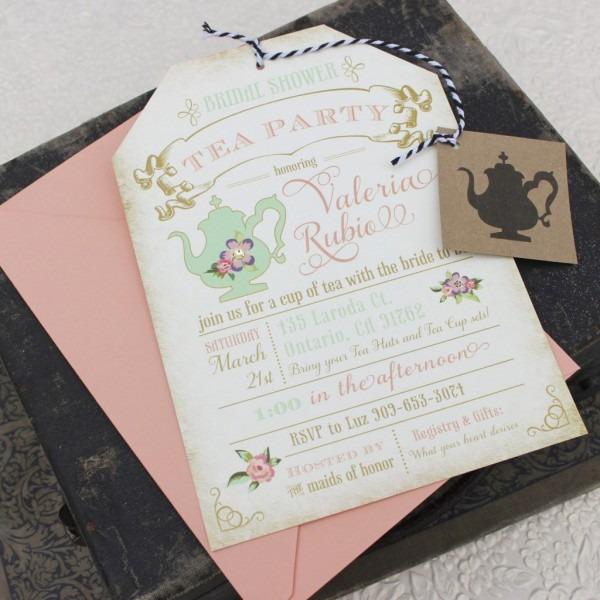 Tea Party Bridal Shower Invitations Tea Party Bridal Shower