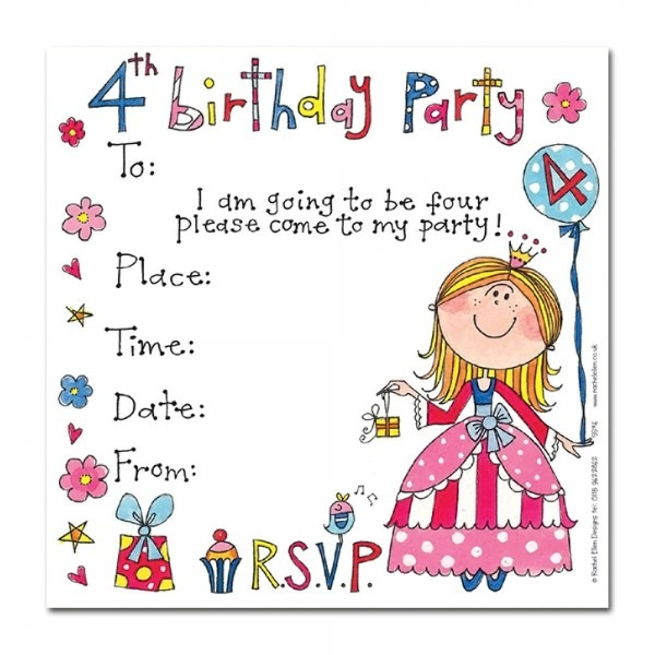 Th Birthday Princess Invitation Fancy 4th Birthday Invitation
