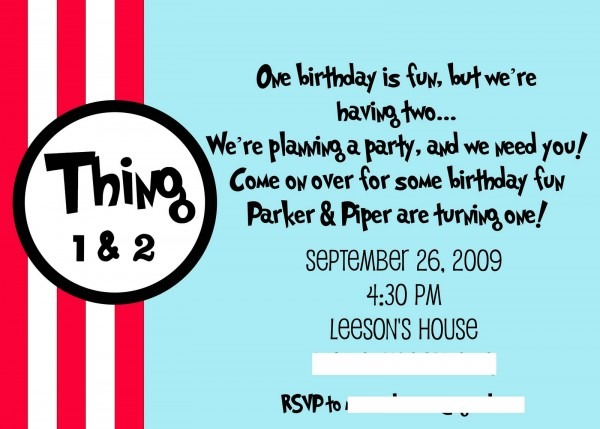 Thing 1 & Thing 2 Birthday Party Idea