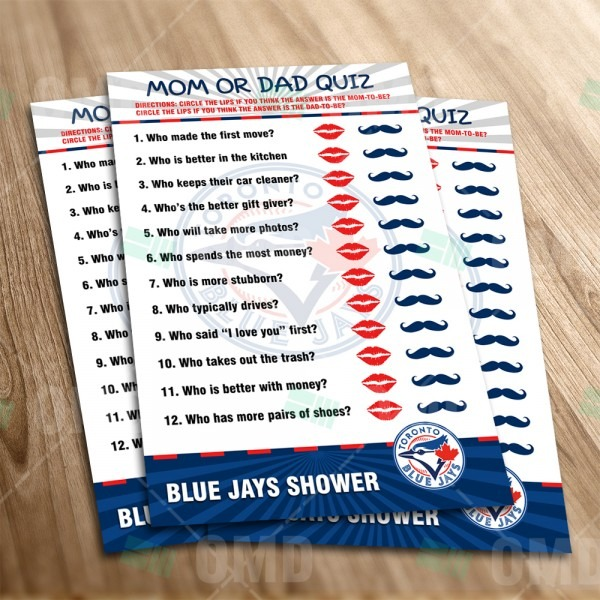 Toronto Blue Jays – Mom Or Dad Baby Shower Game – Sports Invites