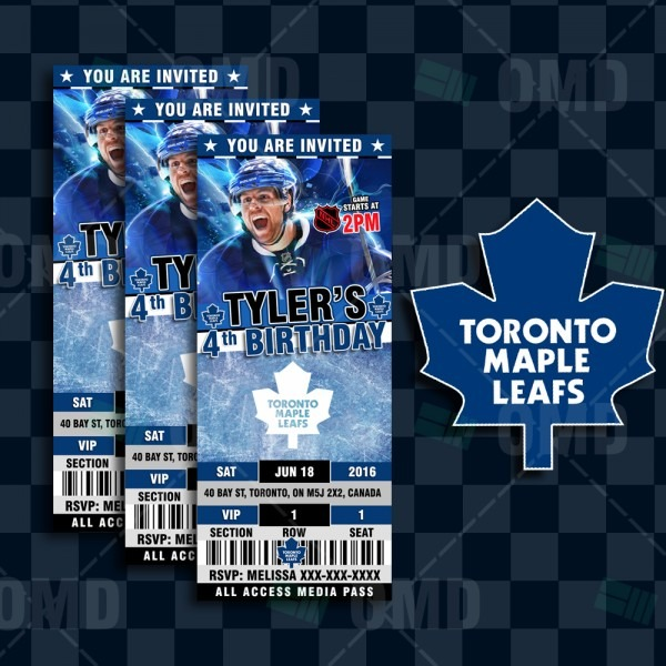 Toronto Maple Leafs Sports Party Invitations – Sports Invites