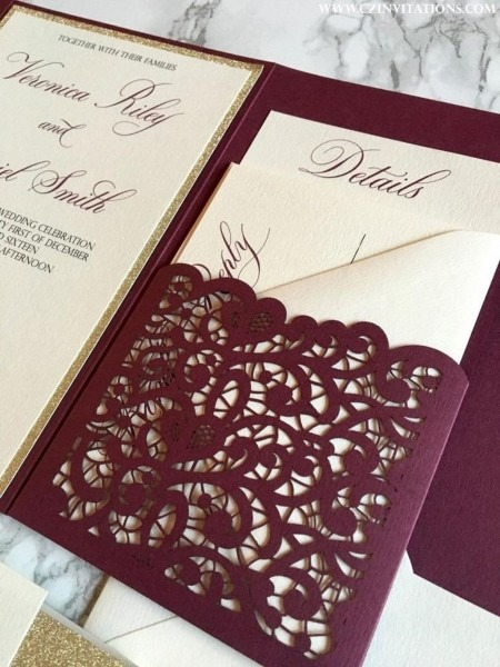 206458 Tri Fold Wedding Invitations With Perforated Rsvp New 1251