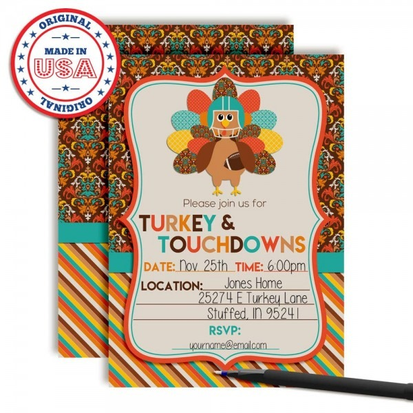 Turkey & Touchdowns Thanksgiving Party Invitations, 20 5 X7  Fill