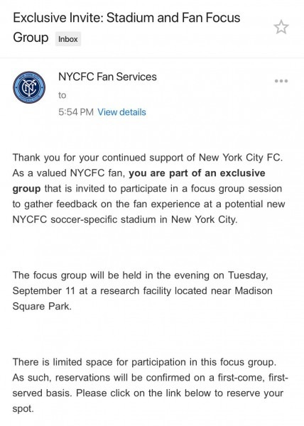 Anyone Else Get An Nycfc Focus Group Invite    Nycfc