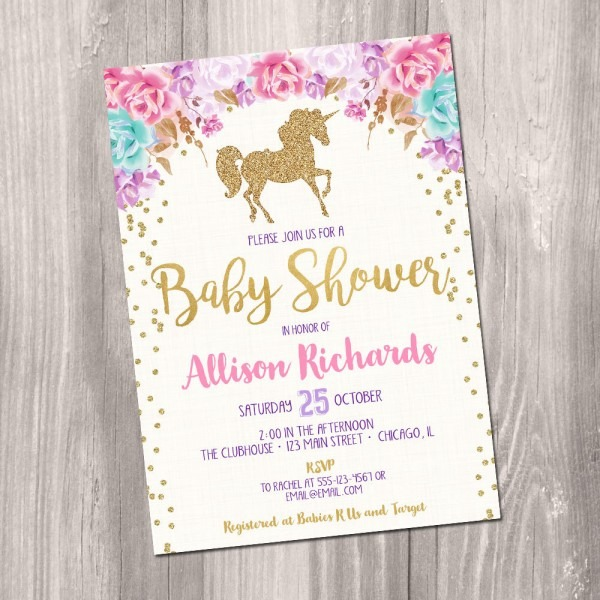 Baby Shower  Pink And Gold Baby Shower Invitations  Pink Marble