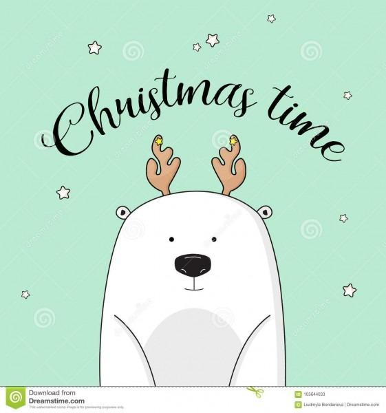 Vector Christmas Invitation With Polar Bear On New Year Eve  Cute