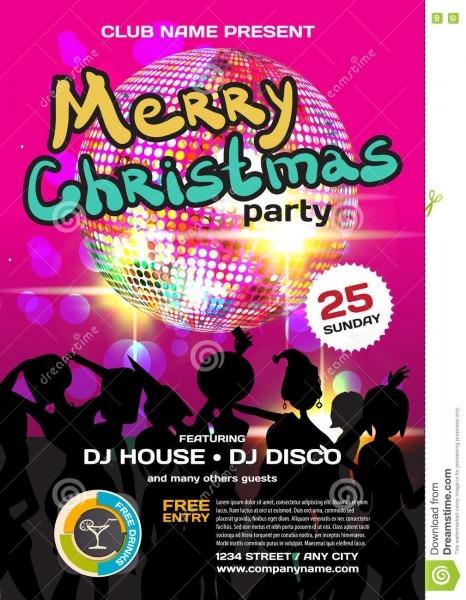 Vector Christmas Party Invitation Disco Style Stock Vector