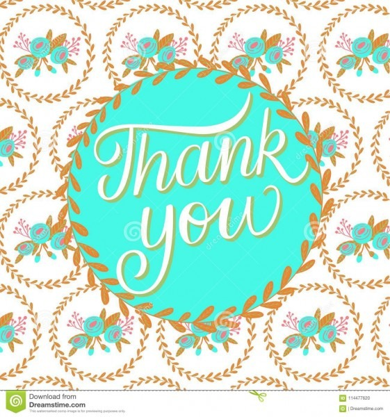 Thank You Floral Patterned Background Card Stock Illustration