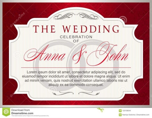 Vintage Wedding Invitation Template, Ruby Red With Silver Stock