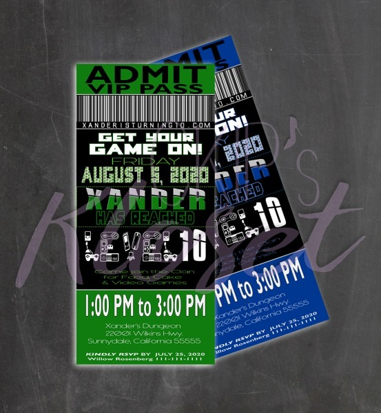 Video Game Party Invitation  Ticket Invitation  Vip Pass  Custom