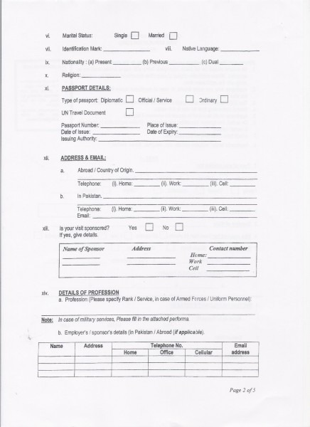 Pakistan High Commission, Singapore  Visa Requirements And Forms