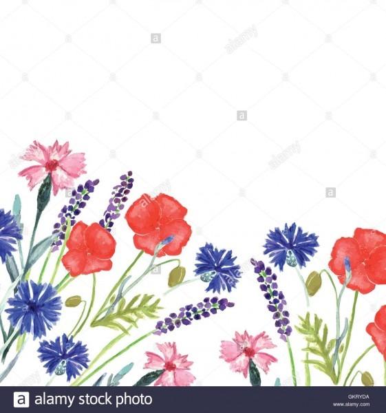 Watercolor Painted Wedding Invitation  Cornflower, Lavender, Sweet