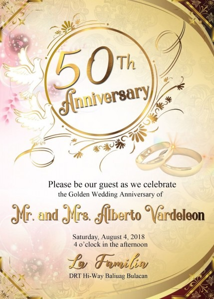 50th Wedding Anniversary Sample Invitation Card