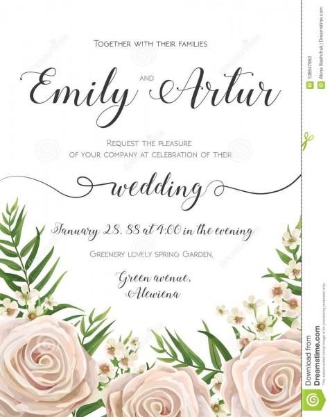 Wedding Invitation, Floral Invite Card Design With Creamy White
